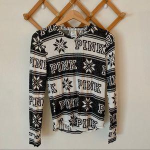 PINK Victoria's Secret Snowflake Fleece Sleep Top